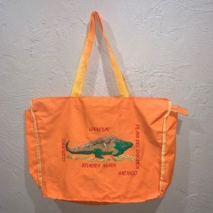 Vintage Mexico Embroidered Tote Bag Iguana Lizard